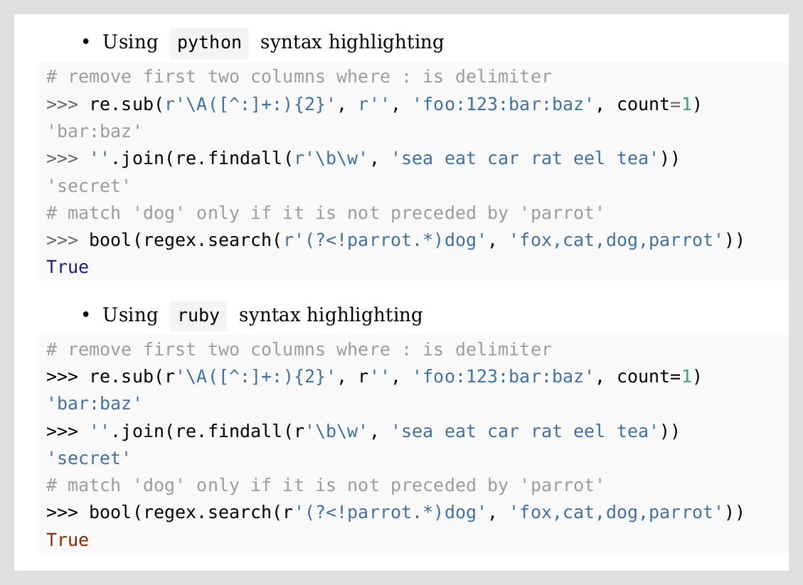 REPL syntax highlighting